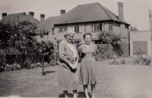 22 Sedley Taylor Road - Margaret Rishbeth and mother in 1948 with mulberry in background