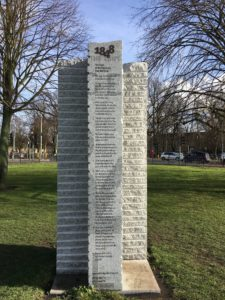 The monument to Cambridge Rules Football on Parker's Piece.